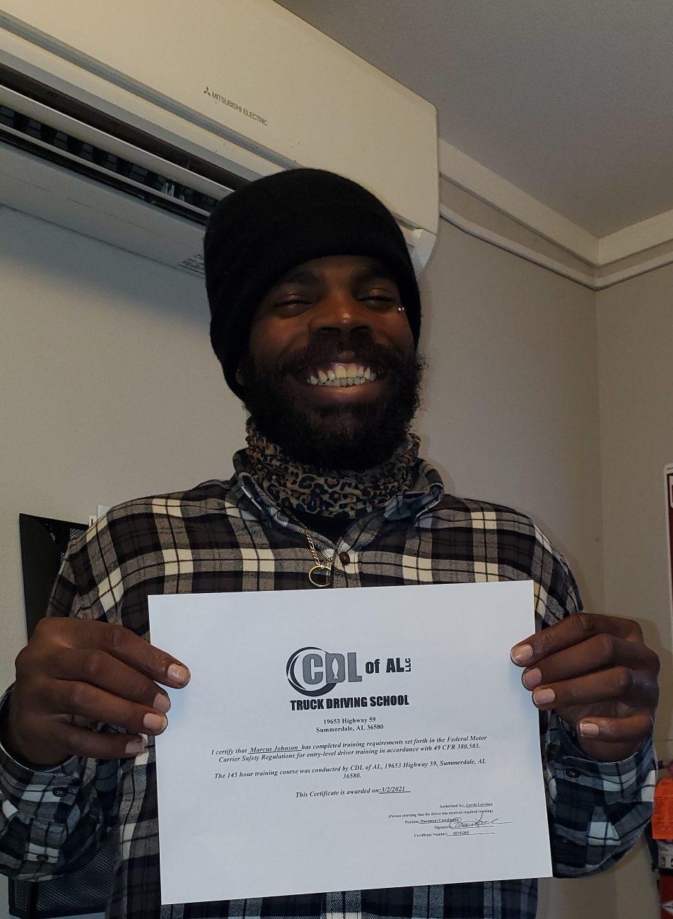 Marcus Johnson, CDL of AL Graduate